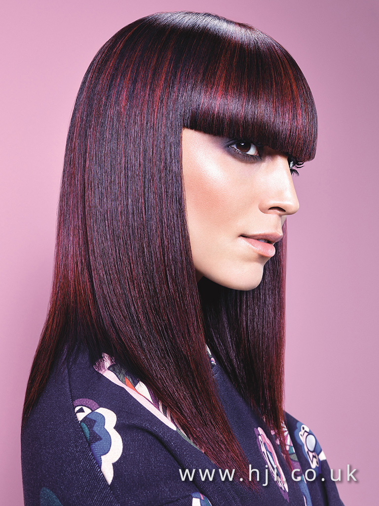 2016 Essential Looks Long Style wit very blunt full fringe and vivid red balayage