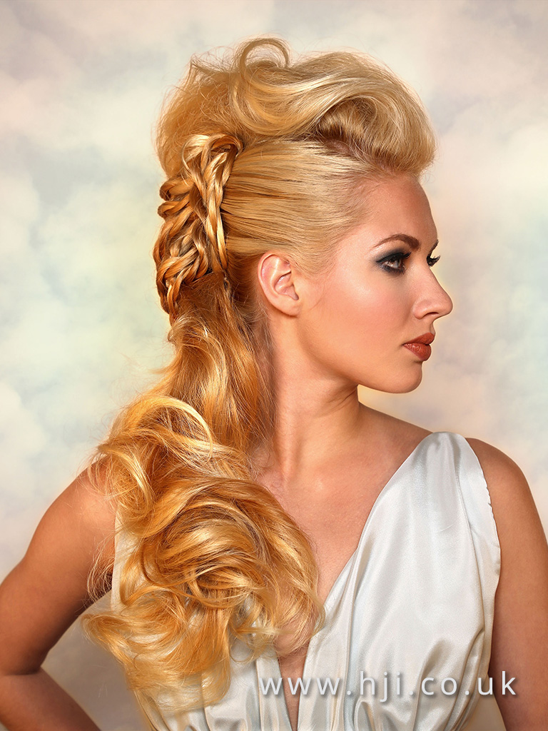 2017 Patrick Cameron Goddess Collection Long Blonde updo with quiff and braid detail