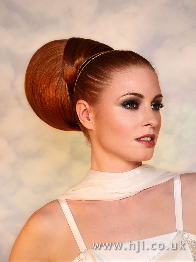 2017 Patrick Cameron Goddess Collection Sleek red Bun with Hairband