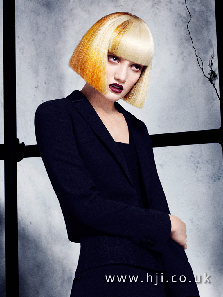 2016 Davines Very Blunt Blonde Bob with Full Fringe and Yellow Slices