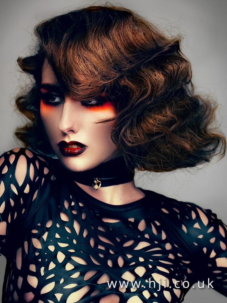 2017 brunette textured fingerwave hairstyle