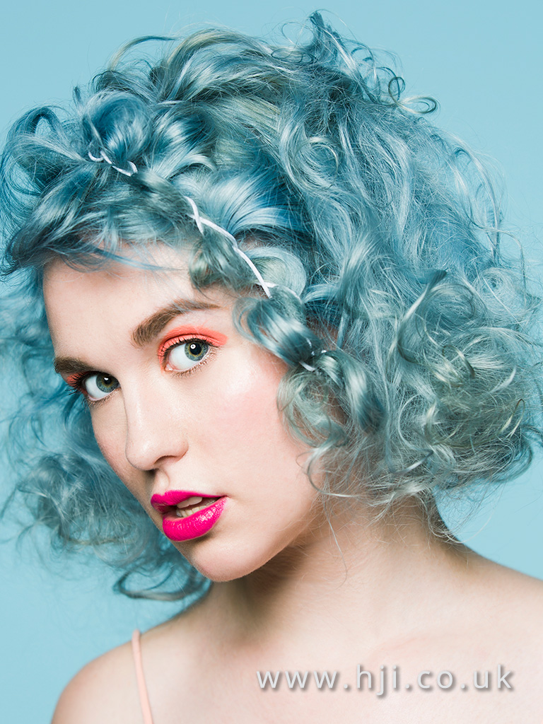 Short blue curls hairstyle
