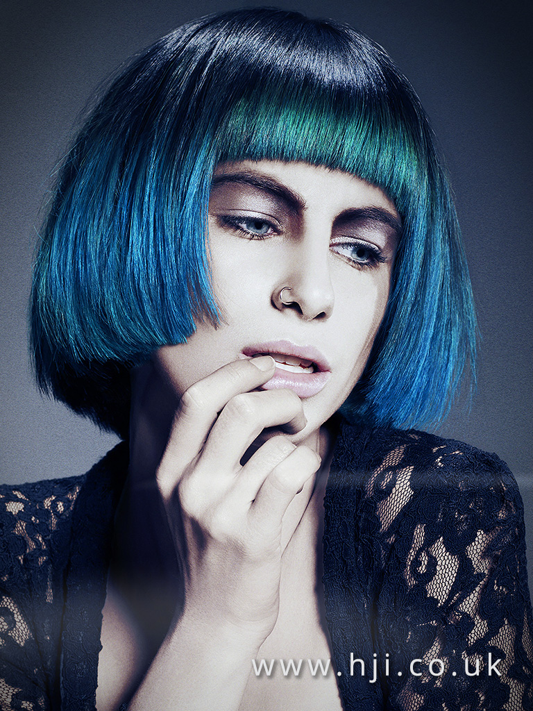 2017 short box bob hairstlye with blue colour and framing fringe