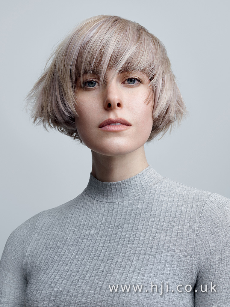 2017 short layered bob hairstyle with grey colour