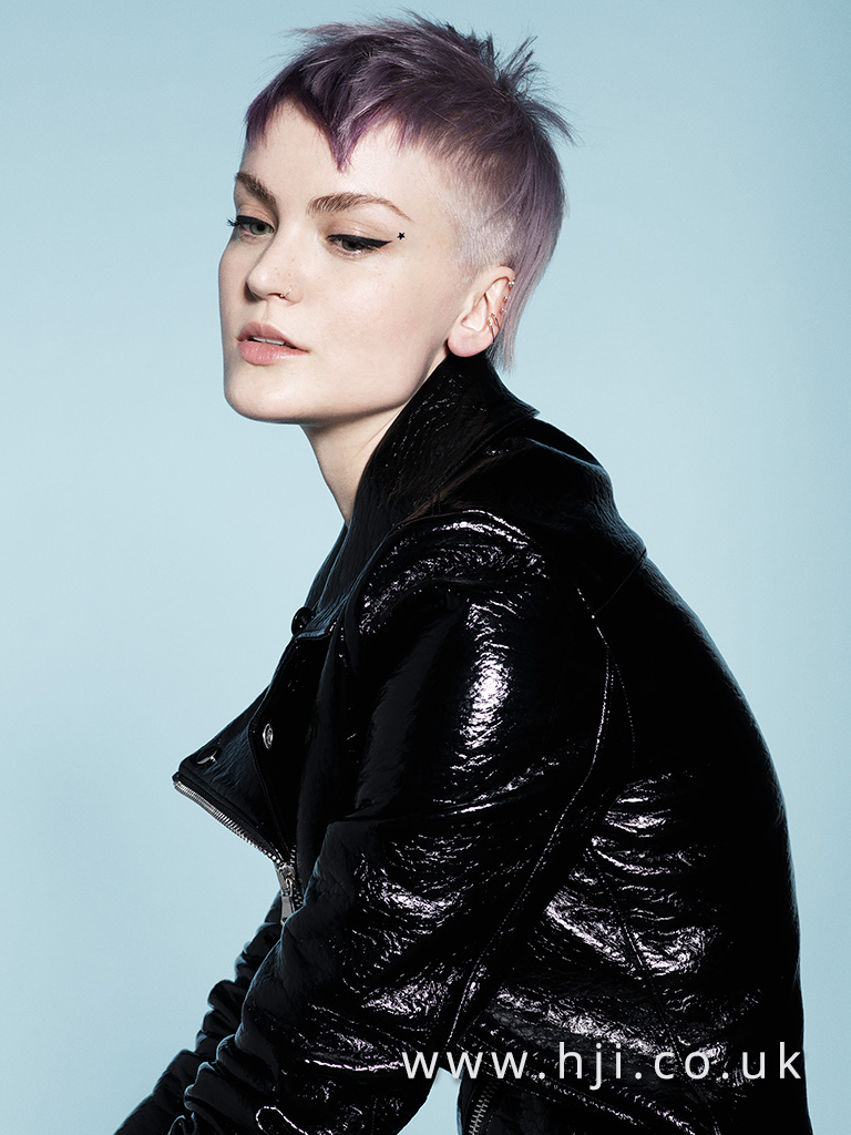 2017 short punk pixie crop hairstyle with purple colour