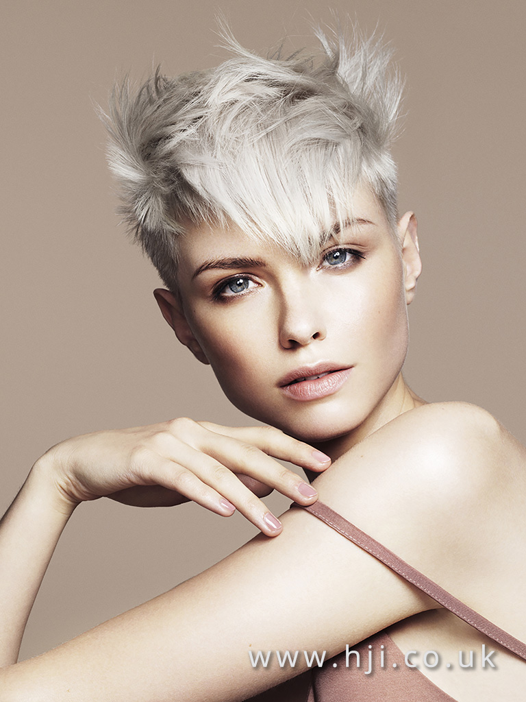 Platinum and silver textured crop hairstyle