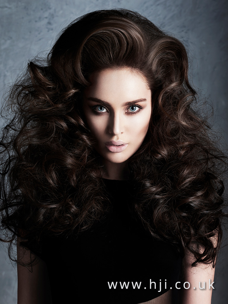 Bouncy brunette curl hairstyle by Alan Keville