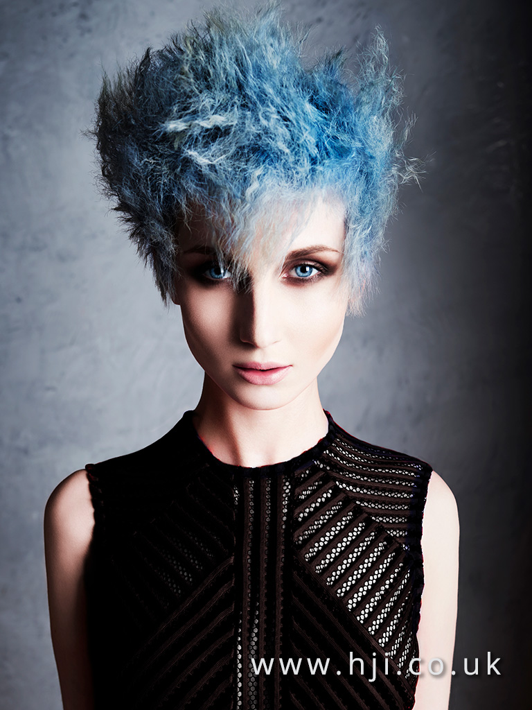 Crimped blue hairstyle by Alan Keville
