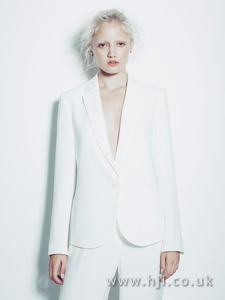 messy platinum blonde ponytail hairstyle