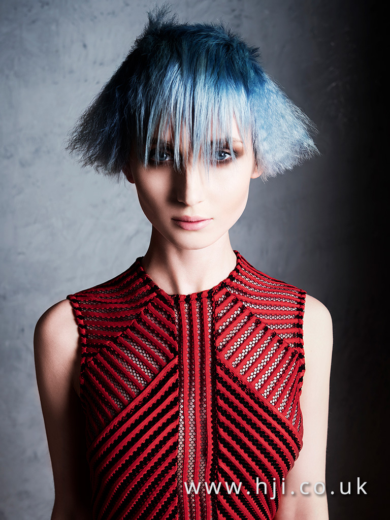 Blue bob hairstyle