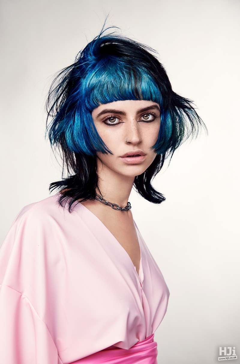 Deep blue and black bob cut with fringe