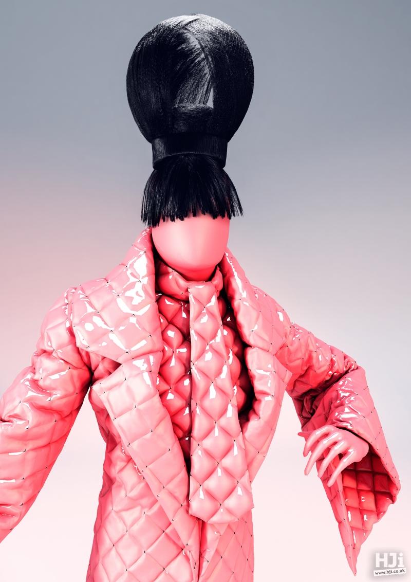 Avant-garde black hair beehive updo