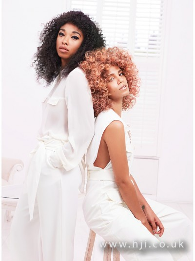 Afro hair in both natural and coral colour