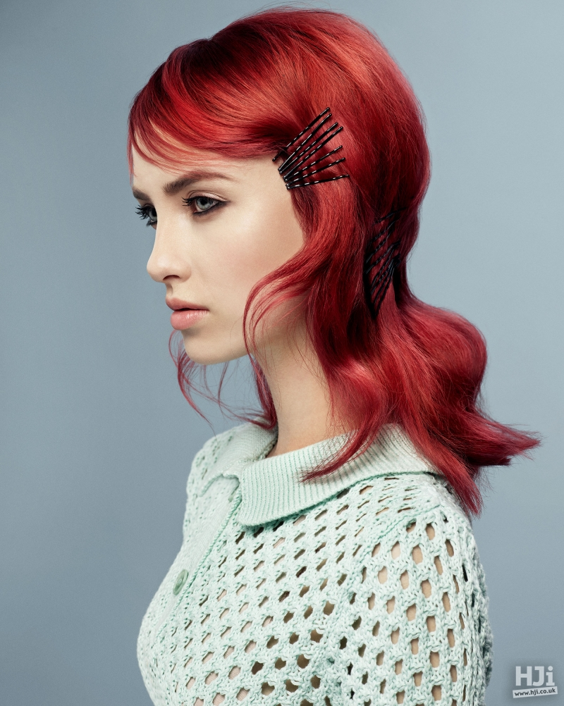 Bright red hair with accessories