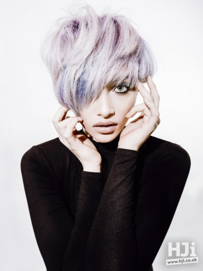 Lilac and silver pixie style