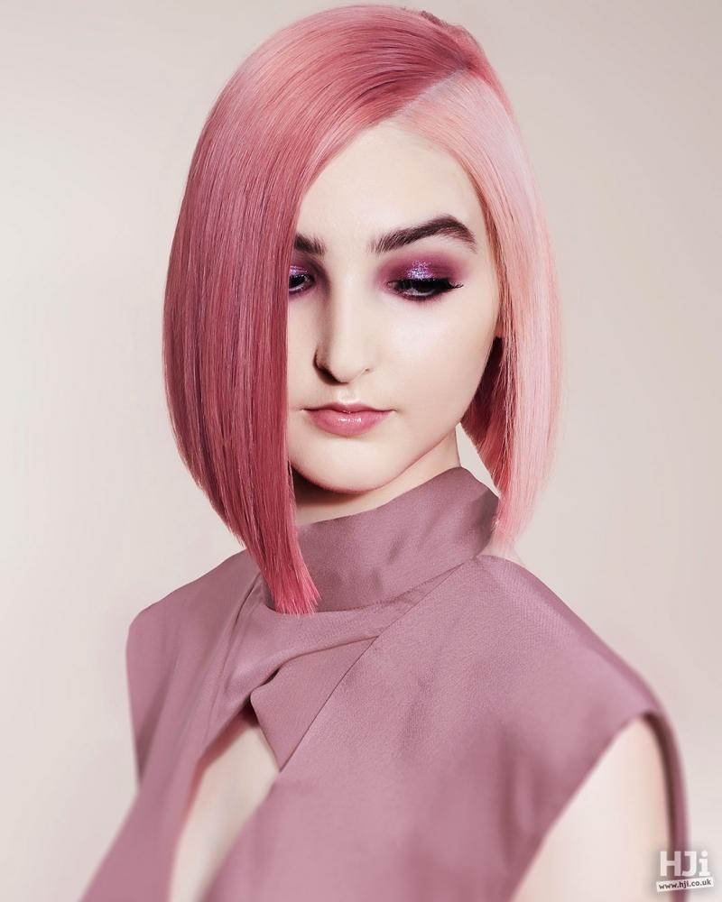 Pink asymmetric bob