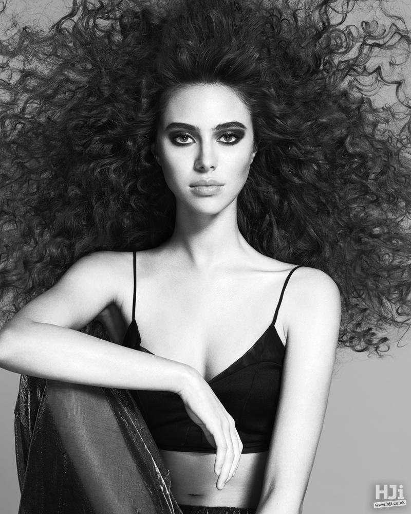 Blown out black curls