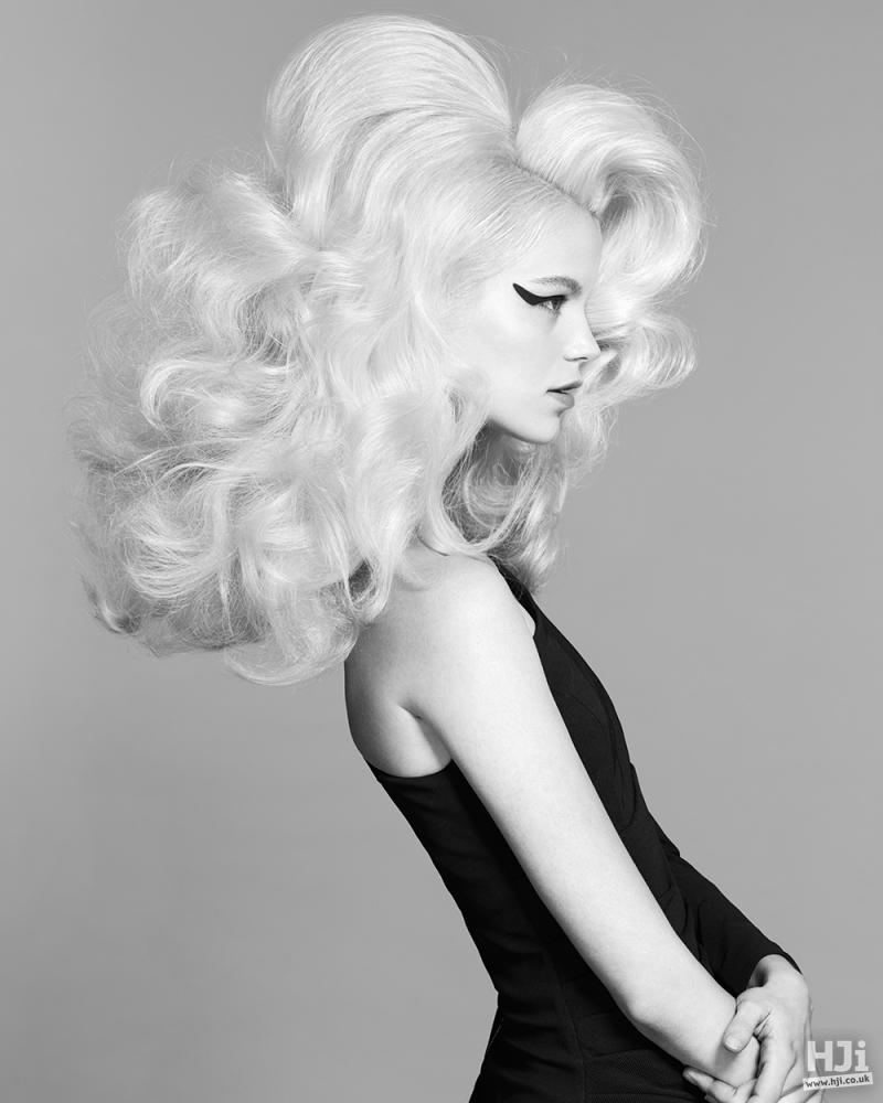 Bleach blonde with big waves