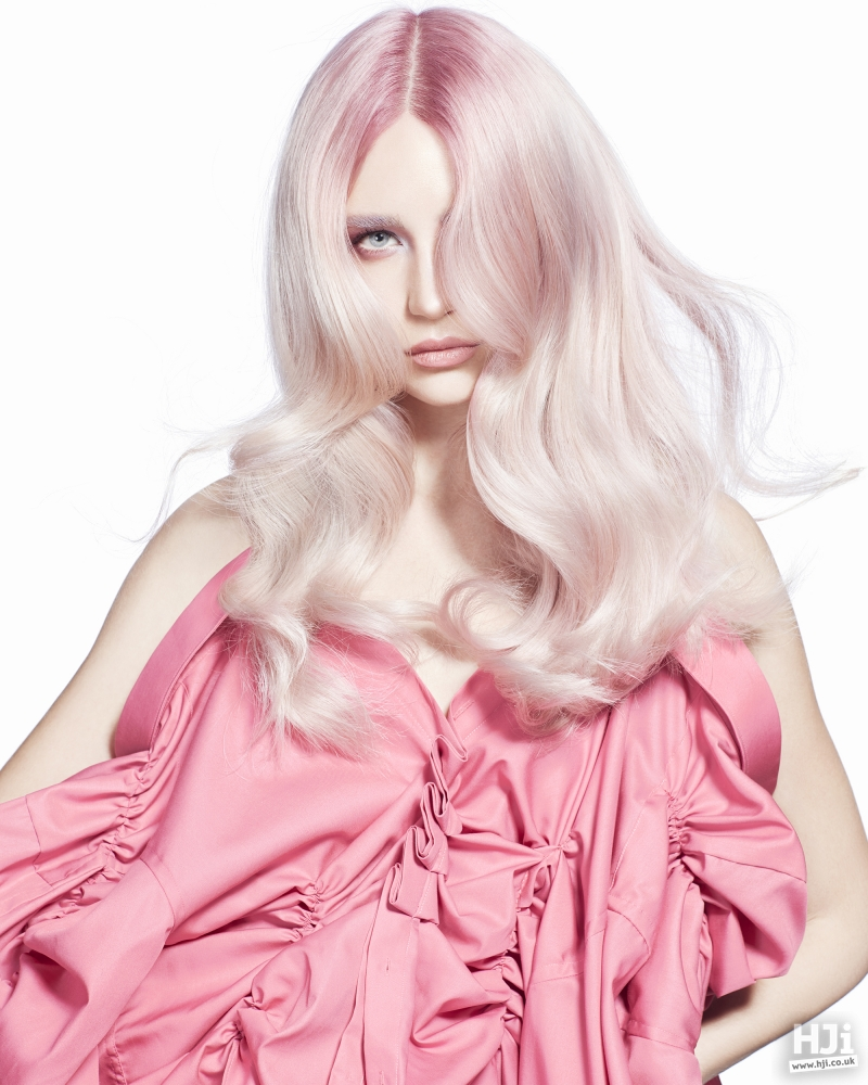 Soft pink mid-length waves