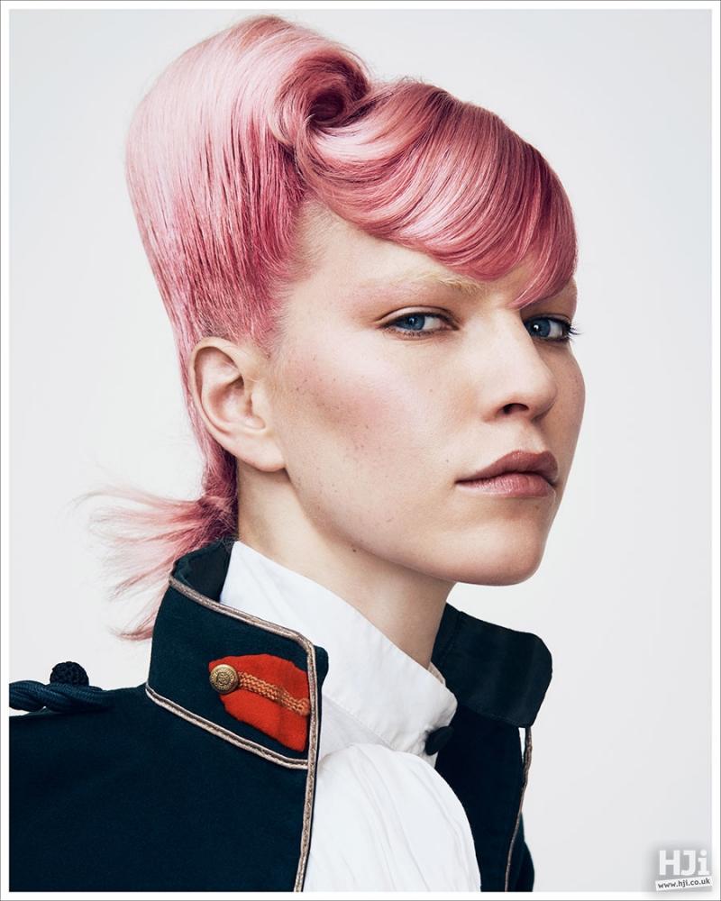 Sleek light pink asymmetric hairstyle