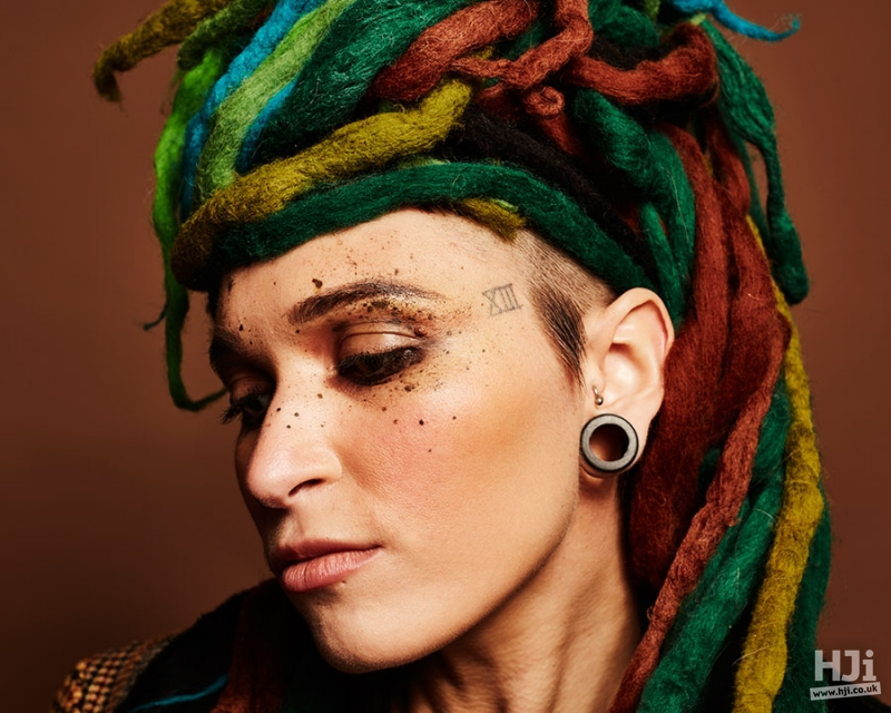 Creative colour dreadlocks hairstyle