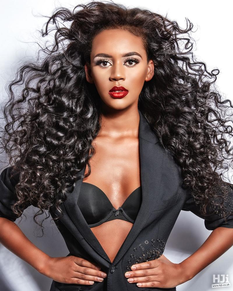Curly long black hair