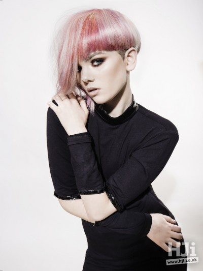 Pink and blonde long style with thick fringe