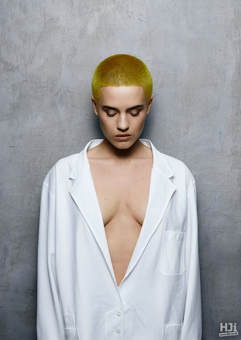 Cropped bright yellow hairstyle