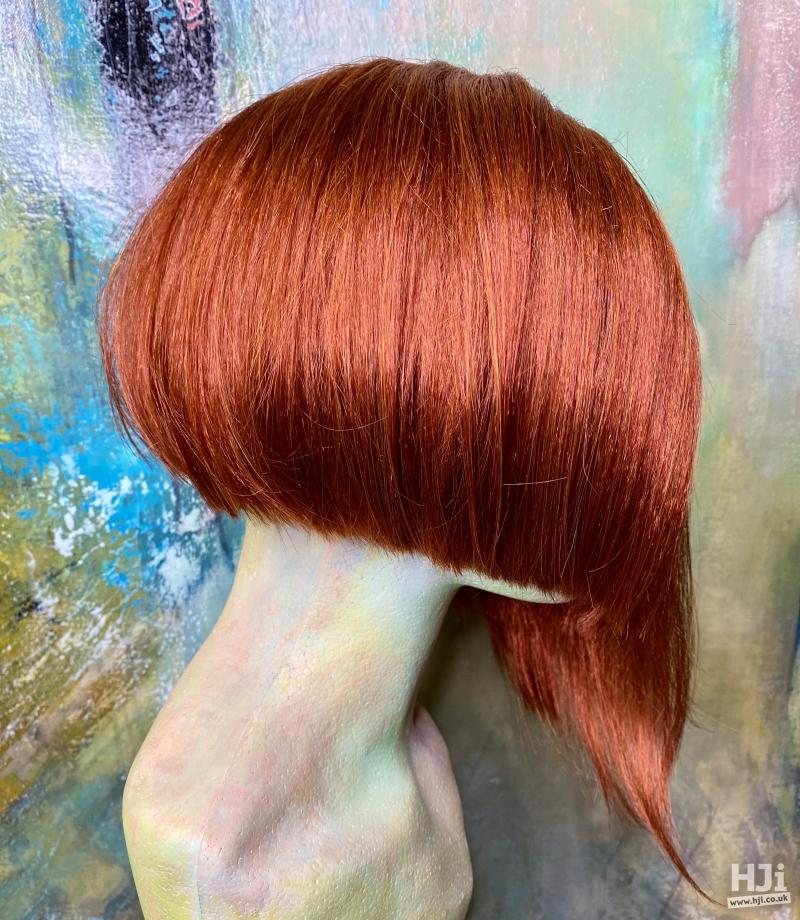 Sharp sleek red bob with creative shaping