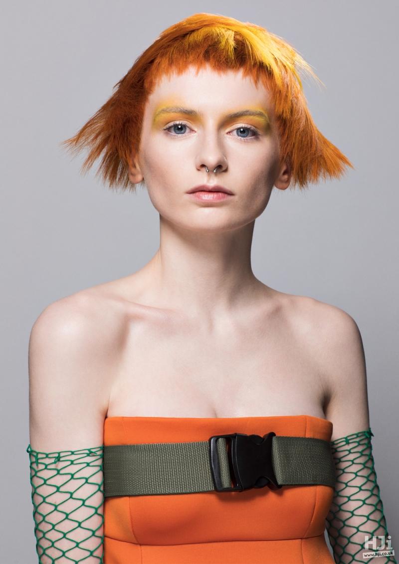 Vivid orange short style with short fringe