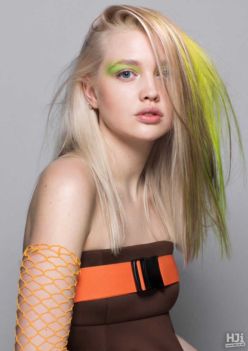 Long blonde style with vivid green colour