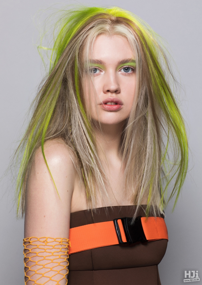Blonde long style with bright green