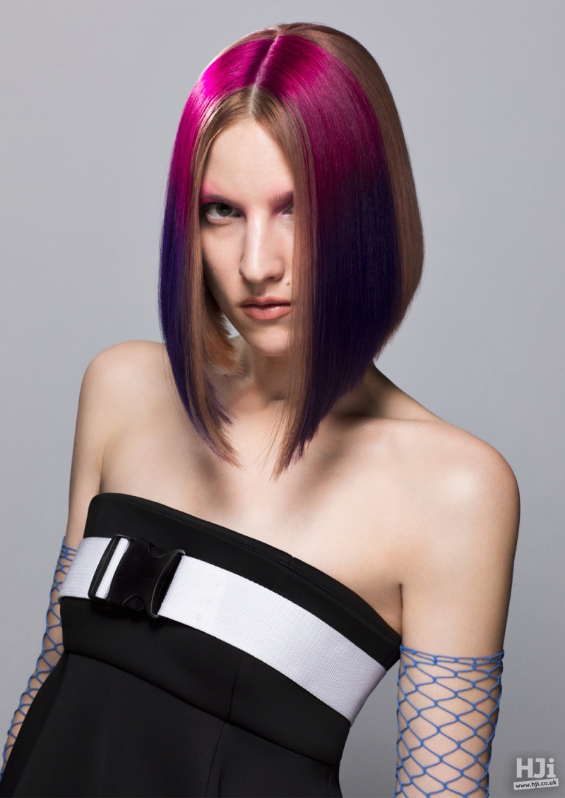 Sleek long bob with pink creative colour