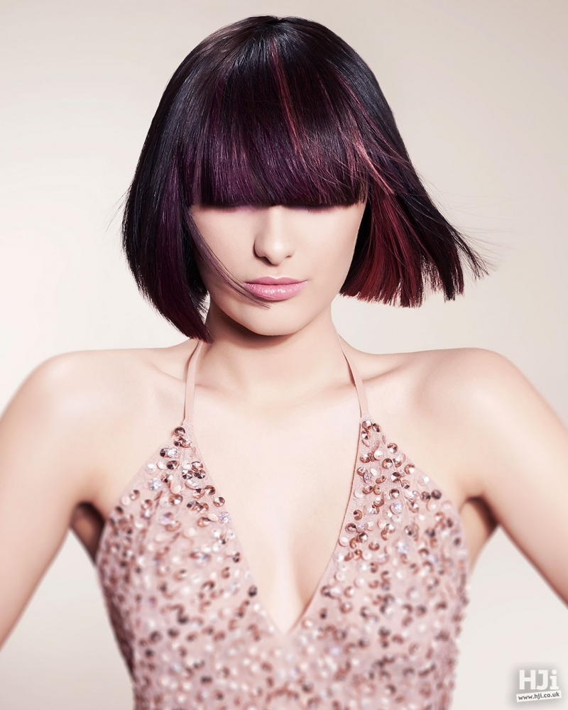 Sleek straight bob with coloured highlights