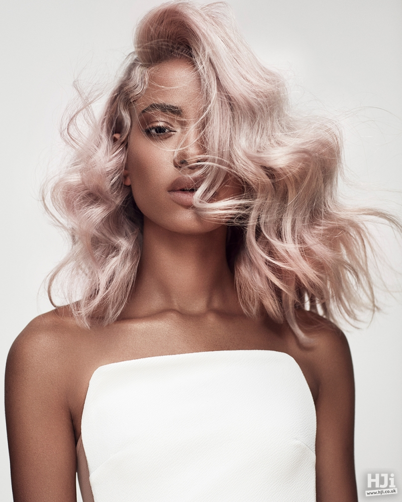 Light pink brushed curls