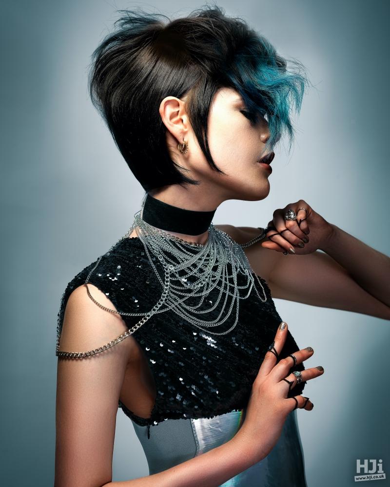 Brunette mid length with blue fringe