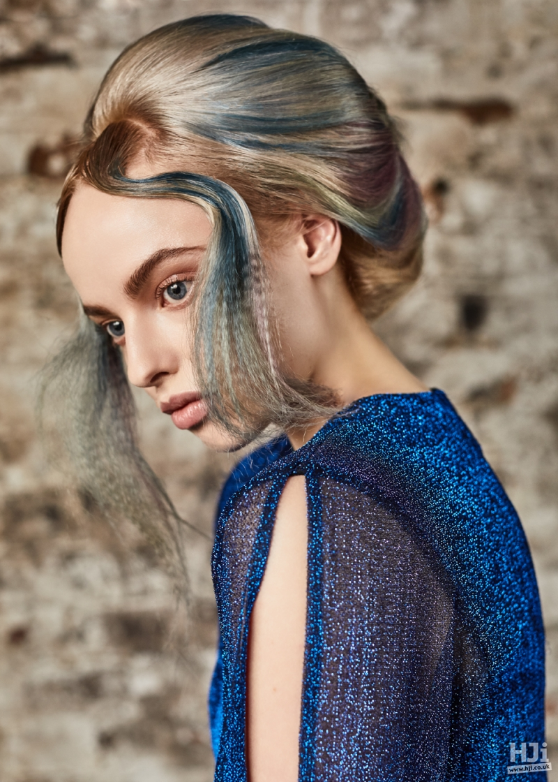 Updo with quiff and front waves with creative colour–blue