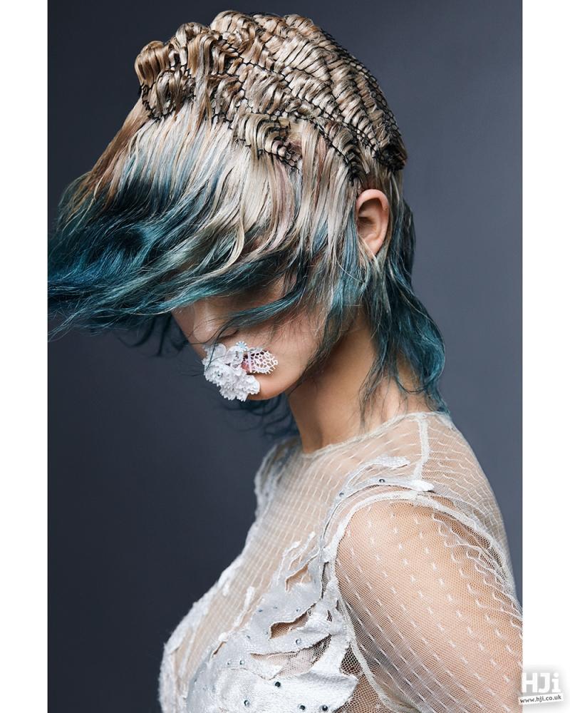 Hair woven through netting