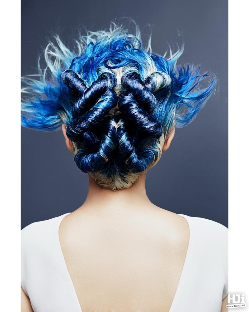 Bright blue sculptural hair