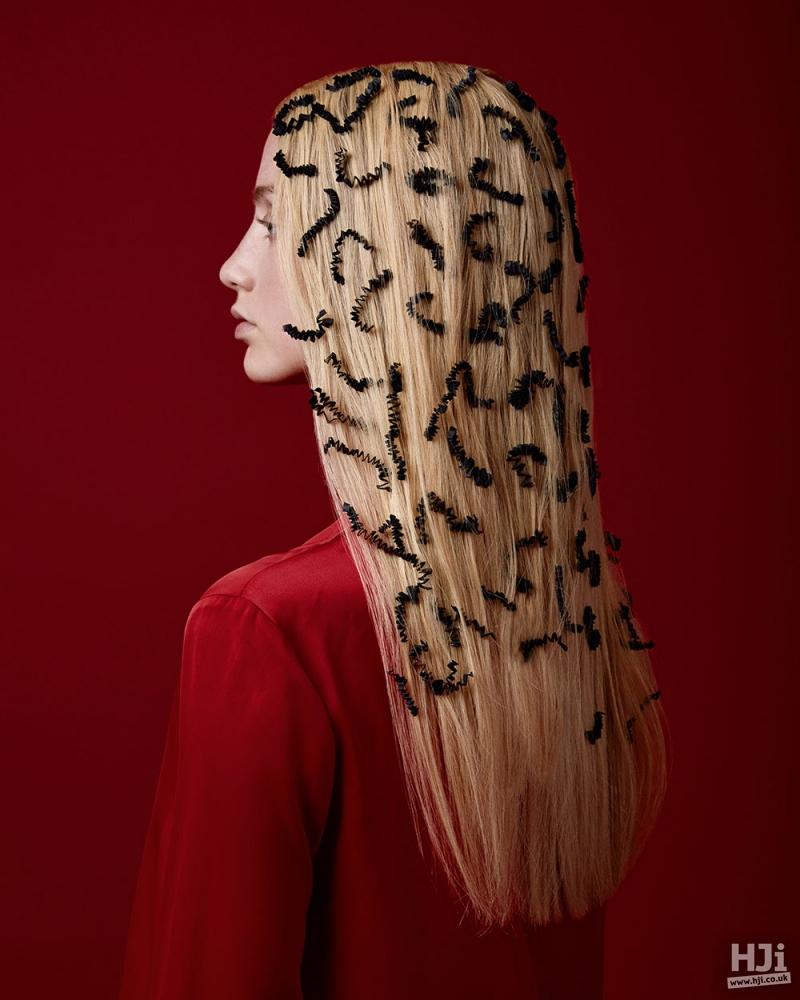 Sleek blonde with hair piece