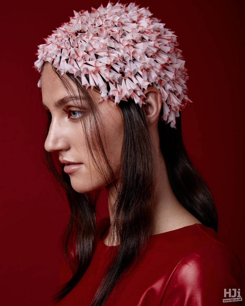 Intricate head wear on brunette hair