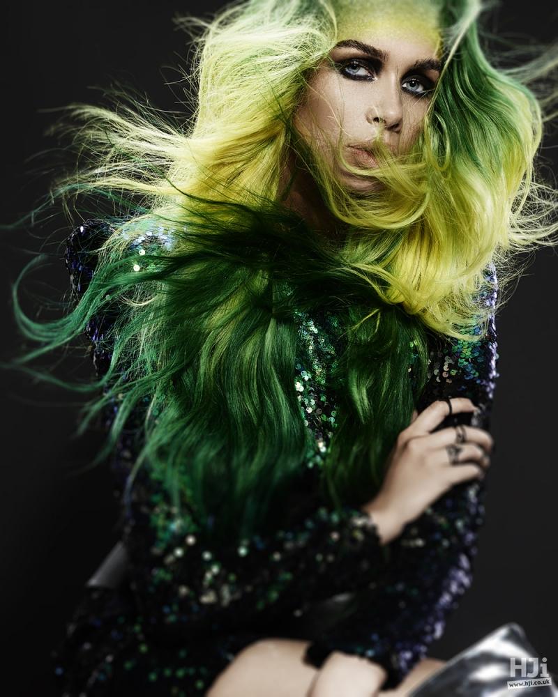 Very long hair with creative colour