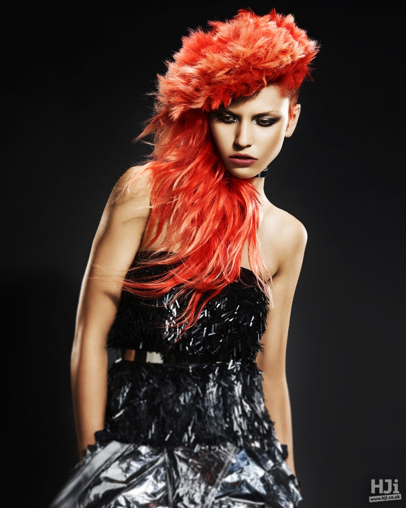 Feathery red hair