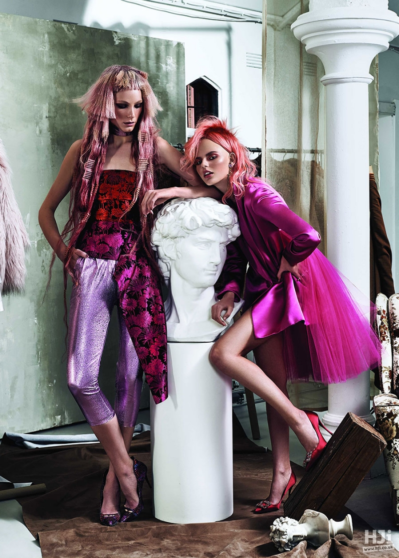 Light and Bright Pink Asymmetric Crimped and Natural texture Hairstyles with a short fringe and side parting