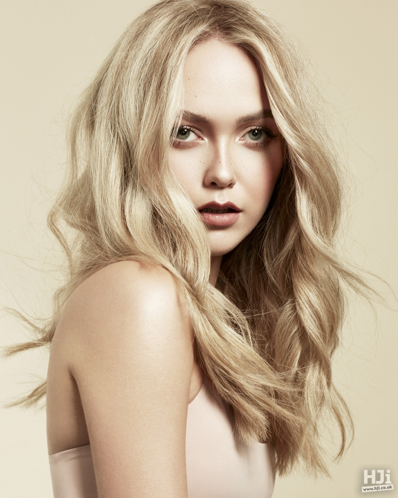 Centre parted soft blonde look