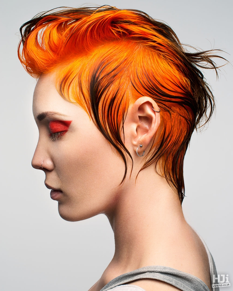 Orange and black quiff