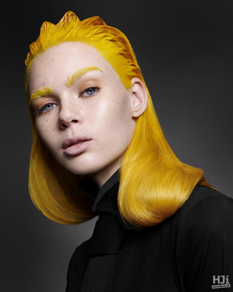 Sleek yellow hair