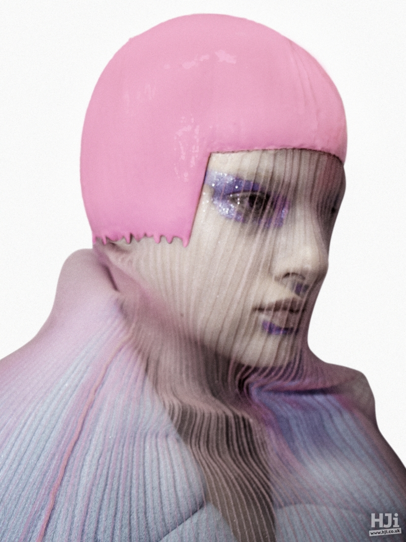 Fitted cap with sheer veil