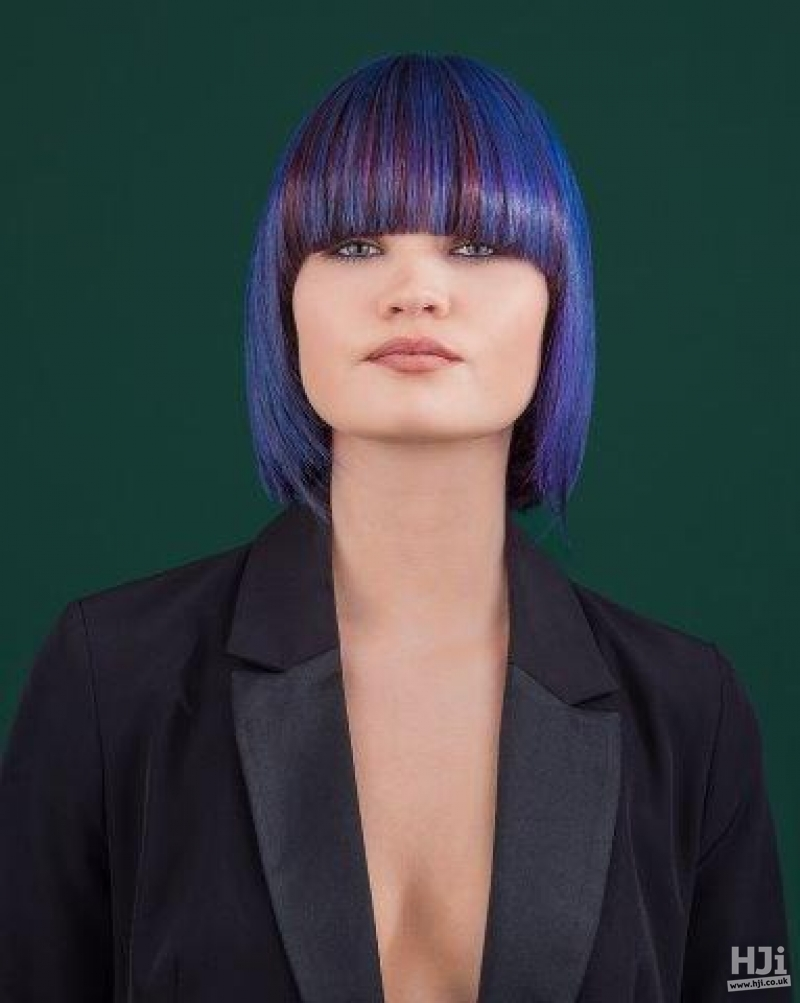 Blue and violet highlighted bob with full fringe