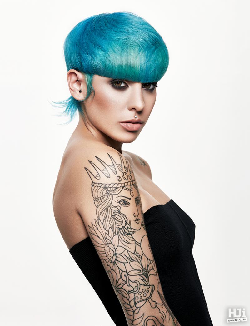 Turquoise Full Fringe Pixie Cut